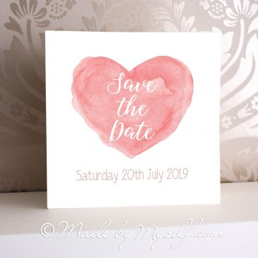 Watercolour Heart Save The Date